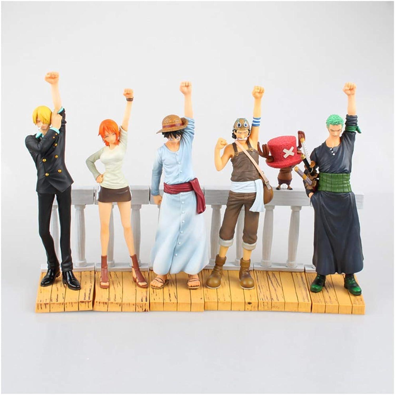 QCRLB One Piece Toy Statue 6 Zeichentrickfigurenmodelle, Home-Office-Deko-Spielzeug - ca. 20 cm hoch, ca. 30 cm lang Spielzeugmodell
