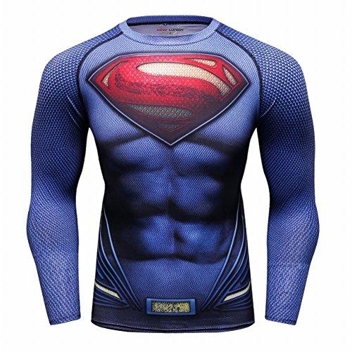 Cody Lundin Super Hero T-shirt imprimé pour hommes Fitness T-shirt à manches longues pour homme - Multicoloured - Medium