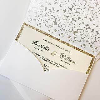 50Pcs Elegant Wedding Invitations by Picky Bride White Invitation Pockets with Gold Glitter Invitation Cards for Wedding/Bridal Shower/Birthday Party 127x185mm - Set of 50 pcs