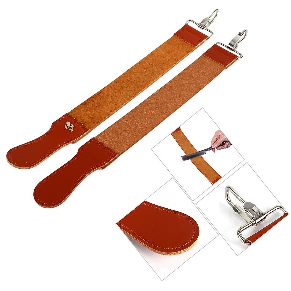 2 Pcs Leather Strop Strap Barber Straight Razor Folding Knife Shave Sharpener Sharpening Belt