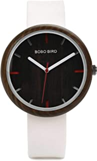 BOBO BIRD Women's 41MM Simple Luxury Wooden Watches, Analog Quartz Wristwatches with Silicone Strap Sports Casual Watches with Wood Gift Box