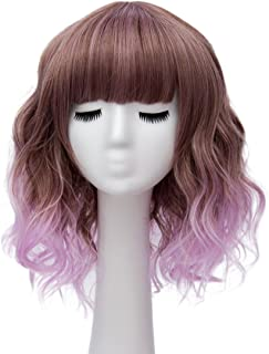 Alacos Fashion 35cm Short Curly Bob Anime Cosplay Wig Daily Party Christmas Halloween Synthetic Heat Resistant Wig for Women +Free Wig Cap (Brown Ombre Purple)
