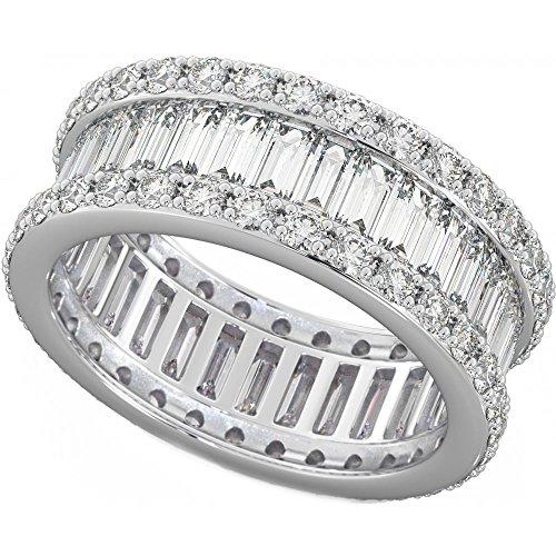 Ladies 925 Sterling Silver Baguette Cut Created Diamond CZ Full Eternity Wedding Ring K