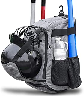 ZOEA Baseball Bat Bag Backpack,  T-Ball & Softball Equipment & Gear for Youth and Adults,  Large Capacity Holds 4 Bats,  Helmet,  Gloves,  Cleats,  Shoes Compartment & Fence Hook & Helmet Holder