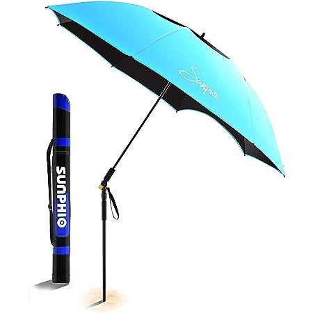 Sunphio Parasol Plage De Protection Uv Grand Solide Et Anti Vent Avec Pôle Inclinable à 360
