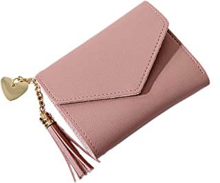 Fansport Bifold Wallet Fashion Faux Leather Tassel Heart Decorative Card Holder Small Portable Wallet Compact Wallet for G...