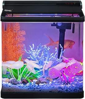 Hygger 4 Gallon Smart Touchscreen LED Temperature Display Aquarium Kit with Flip Lid, 3-in-1 Filter Pump, LED Light Hood and 2 Filter Cartridges, Betta Fish Tank Starter Kit