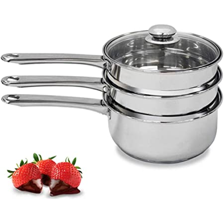 Double Boiler & Steam Pots for Melting Chocolate, Candle Making and more - Stainless Steel Steamer with Tempered Glass Lid for Clear View while Cooking, Dishwasher & Oven Safe - 3 Qts & 4 Pieces