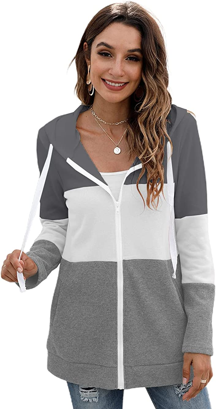 iChunhua Womens Latest item Long Sleeve Zip Hoodie Loos Spring new work one after another Sweatshirt Casual Up