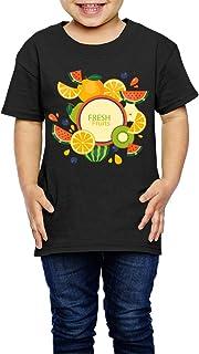 かわいいカラフルなハーフ果物ステッカーセット 子供服 キッズ 半袖 Tシャツ 綿100% 4 Toddler