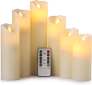 """RY king 2.2"""" X 5"""" 5.5"""" 6"""" 7"""" 8"""" 9"""" Set of 6 Pillar Real Wax Dancing Flame-Effect Flameless LED Battery Operated Flickering Candles with Timer and 10-key Remote Control"""