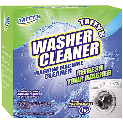 [12 Pack] Taffy's Washing Machine Cleaner Effervescent Tablets,Solid Washer Deep Cleaning Tablet, Triple Decontamination Remover with Natural Formula, for Front and Top Load Machines