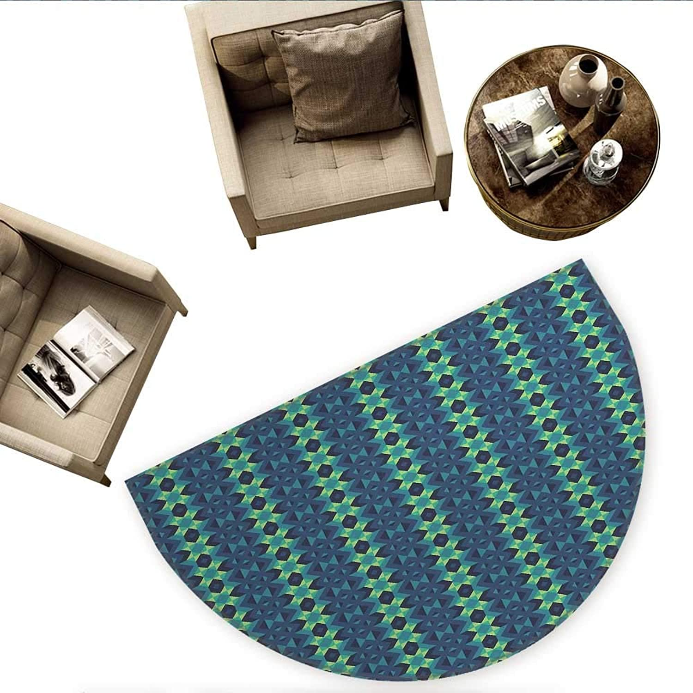 bluee and Green Semicircular CushionSymmetric Geometric greenical Borders with Zig Zag Stripes Entry Door Mat H 63  xD 94.5  Dark bluee Teal Pale Green