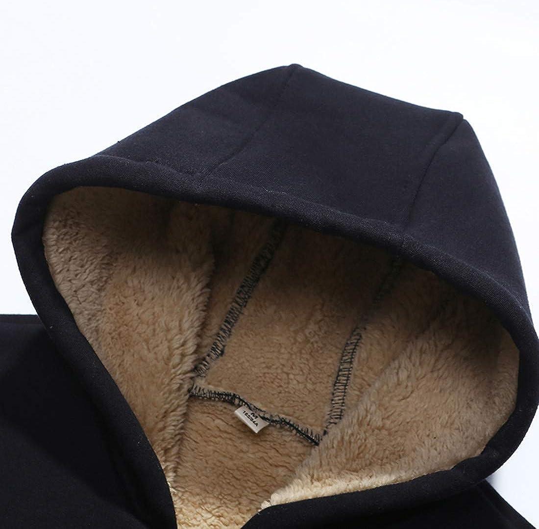 Boy's Winter Warm Fleeced Lining Down Thicken Cardigan Hooded Sweaters Black 2XL