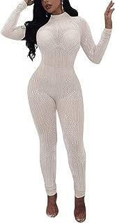 Women's Sexy Long Sleeve See Through Rhinestone Bodycon Jumpsuit Romper Clubwear