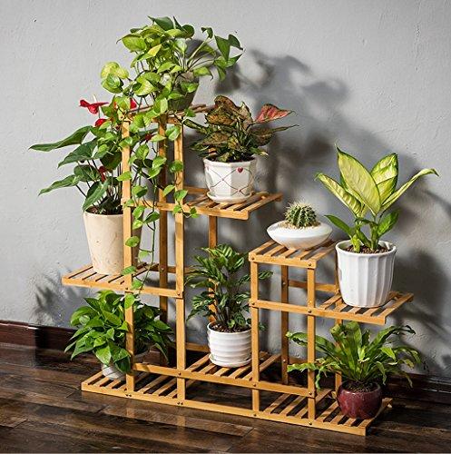 Présentoir de fleurs en bois en bois Plateau en bois étagère Rack de rangement extérieur à l'intérieur Pots à étages à étages Holde