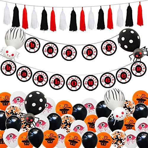 Aiwer Halloween Ballonnen Set Bat Tassels Opblaasbare Gelukkig Halloween Swirl Plafond Hangende Decoraties Party Favors benodigdheden en Ballon Pomp