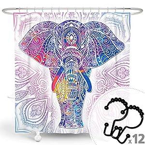 DESIHOM Boho Shower Curtain Bohemian Shower Curtain Colorful Shower Curtain Elephant Shower Curtain Art Mandala Shower Curtain Paisley Fall Shower Curtain Polyester Waterproof Shower Curtain 72x72