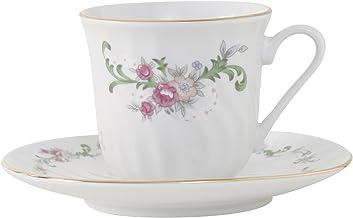 فنجان شاي بورسلين بورسلين من Lynns Celestine مع إطار ذهبي، مجموعة من 12 قطعة زهور كلاسيكية، مجموعة من 6 قطع