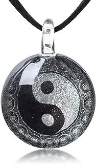 "Hand Blown Glass Jewelry Yin Yang Symbol Peacock Mandala Round Pendant Necklace, 17-19"" Leather Cord"