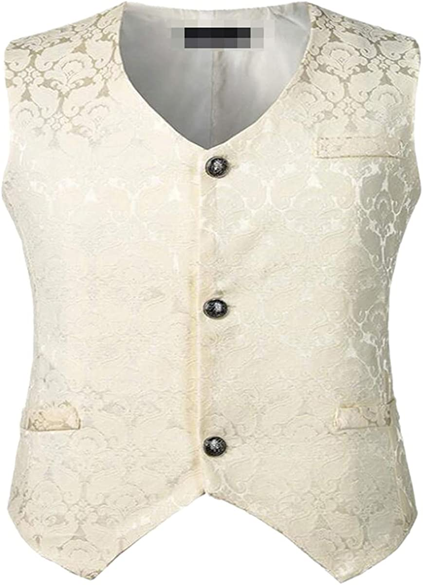 Men's Gothic Victorian Single Breasted Brocade Medieval Halloween Cosplay Jacquard Vest