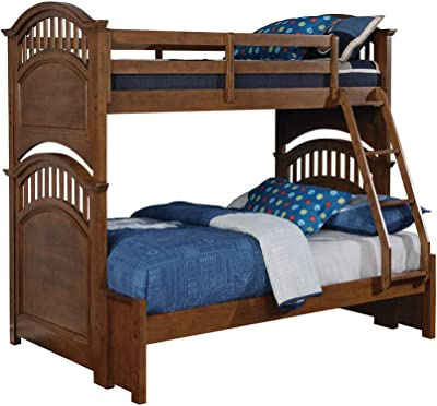 Benjara Arched Design Transitional Twin Over Full Bunk Bed, Brown
