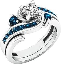 Dazzlingrock Collection 0.95 Carat (ctw) 14K Gold Round Blue and White Diamond Ladies Engagement Ring Set 1 CT