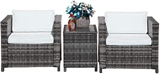 Patiorama 3 Pieces Patio Set Outdoor Wicker Patio Furniture Sets Modern Bistro Set Rattan Chair Conversation Sets with Aluminum Table (Grey)