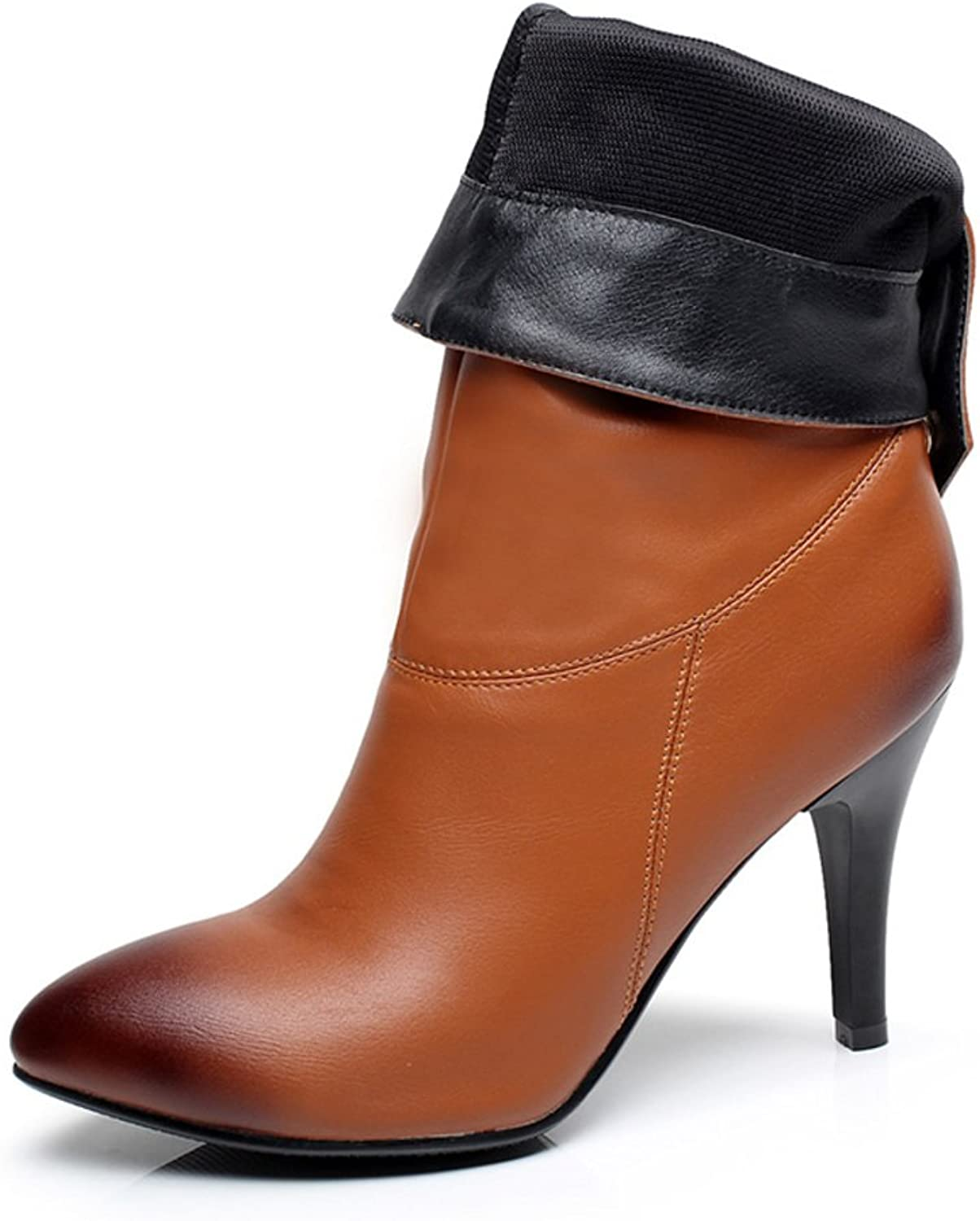 RHFDVGDS smart shoe Fall pointed high heel stiletto boots Martin ladies ankle boots