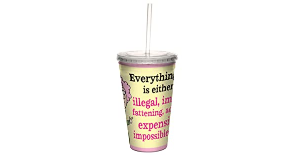 Double-Walled Cool Cup with Reusable Straw 16-Ounce Illegal Immoral Etc Tree-Free Greetings cc33843 Hilarious Aunty Acid