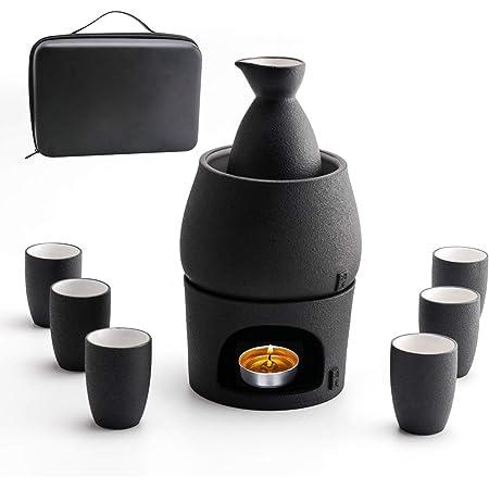 Lyty Ceramic Sake Set Cups with Warmer + Sake Saki Drink Storage Gift Box, Porcelain Pottery Hot Cold Saki Drink, 9pcs Include 1 Stove 1 Warming Bowl 1 Sake Bottle 6 Cup