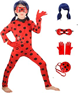 HuangWeida Ladybug Costume for Girls Cosplay Jumpsuit Lady Bugs Kids Costume with Wig for Halloween Birthday Party