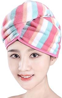 Super-Absorbent Dry Hair Cap Shower Cap Female Dry Hair Towel Pink Stripe