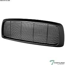Topline Autopart Matte Black Horizontal Front Hood Bumper Grill Grille ABS For 02-05 Dodge Ram 1500/03-05 2500/3500
