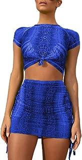 Women Opaque 2 Piece Skirts Set Mesh Short Sleeve Snakeskin Print Crop Top Mini Dress Set Outfit Clubwear