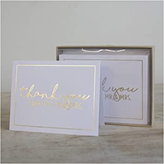 Thank You Mr and Mrs Wedding Script White and Gold 6 x 4 Paper Note Cards Set