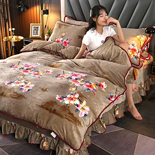 Shinon duvet cover super king size,Winter thick double-sided French quilt cover bed skirt pillowcase bedding set-R_1.2m bed (3 pieces)