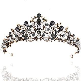 Barode Black Bride Wedding Crowns and Tiaras Bridal Black Rhinestones Queen Crowns Headbands Hair Accessories for Women