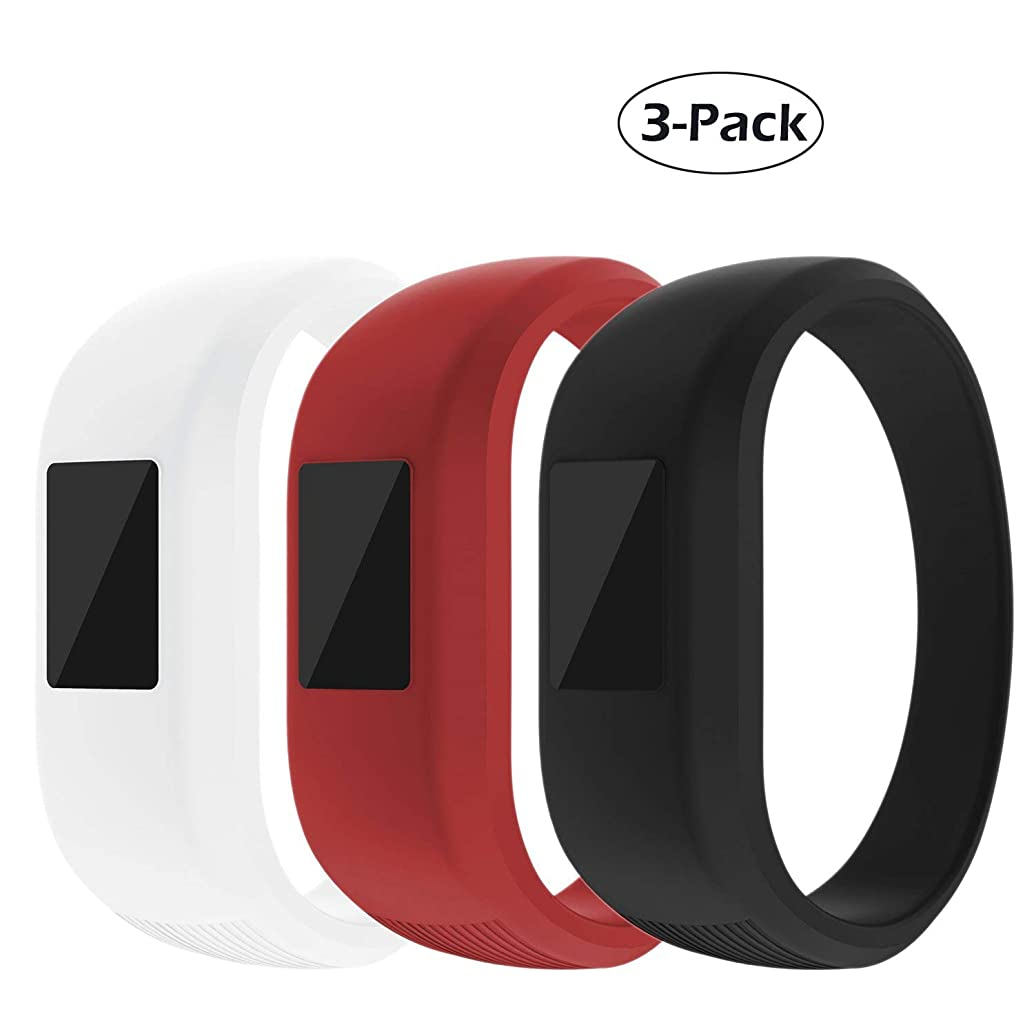 for Garmin Vivofit JR Watch Bands, Sport Silicone Strap Wrist Band Clasp Sports Fitness Replacement Band Accessory Wristband for Garmin Vivofit Jr for Kids [3 Pack] (White Red Black, Large)