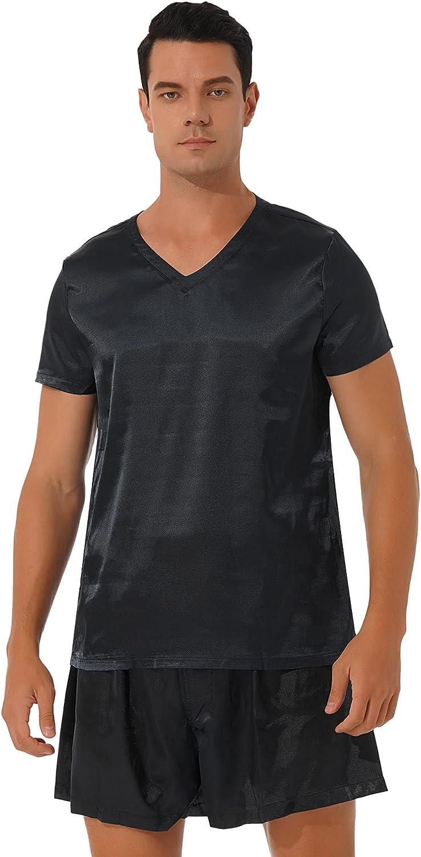 TiaoBug Men's Satin Silky Pajamas Set Short Sleeve T-Shirt with Shorts Sleepwear Loungewear