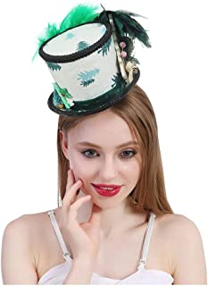 HaiNing Zheng Micro Mini Top Hat White and Green hat, Mad Tea party Hat, Ugly Sweater hat, Santa Mini Top hat