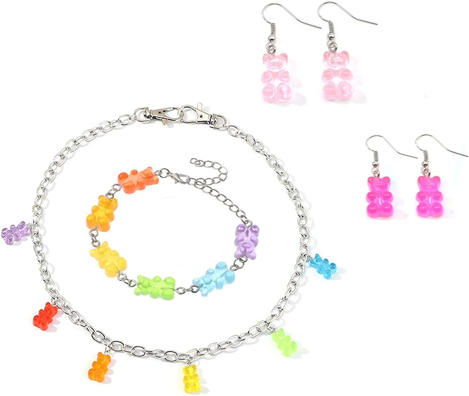Gummy Bear Necklace Bracelet Set Colorful Multicolor Transparent Resin Bear Earring Cartoon Cute Candy Crazy Aesthetic Pendant Necklace for Girls Women Jewelry