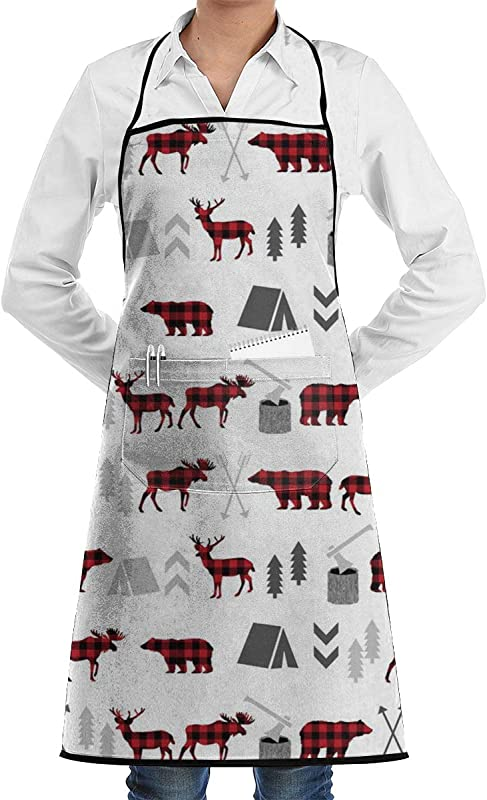 GUIH Buffalo Plaid Woodland Moose Deer Bear Forest Trees Camping Canada Apron For Women With 2 Pockets Adjustable Machine Washable Kitchen Cooking Bib Apron