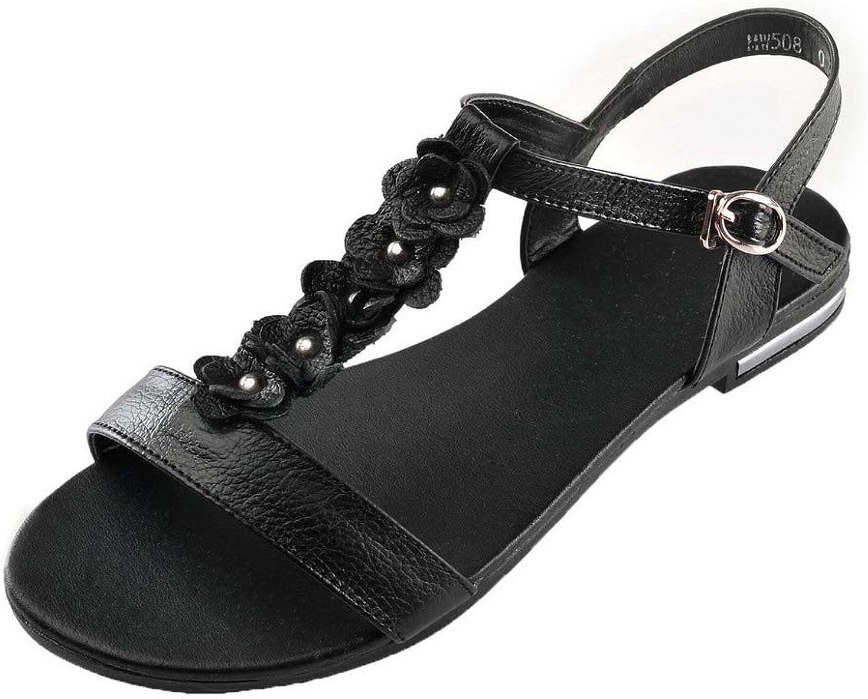 WeiPoot Women's Buckle Open-Toe PU Low-Heels Solid Sandals