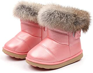 LONGDAY Girls Boys Warm Winter Flat Shoes Bailey Button Snow Boots(Toddler/Little Kid), Toddler Boots Fur Lined Winter