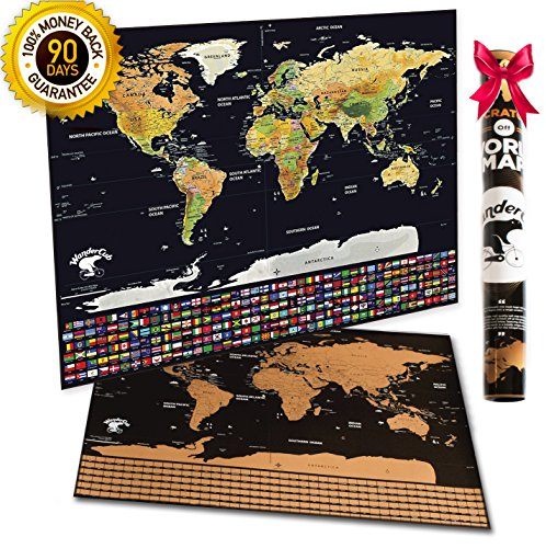 XL Scratch Off World Map - Travel Map Scratch Off Poster   US States & 252 Flags   33.5 x 23.5 Premium Glossy Paper   Adventure Tracker Travel Journal Bucket List Gift - Scratch Map of The World