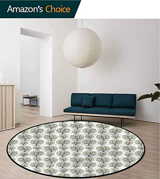 RUGSMAT Tree Modern Washable Round Bath Mat Swirled Lines Botanical Non Slip No Shedding Kitchen Soft Floor Mat Round 31