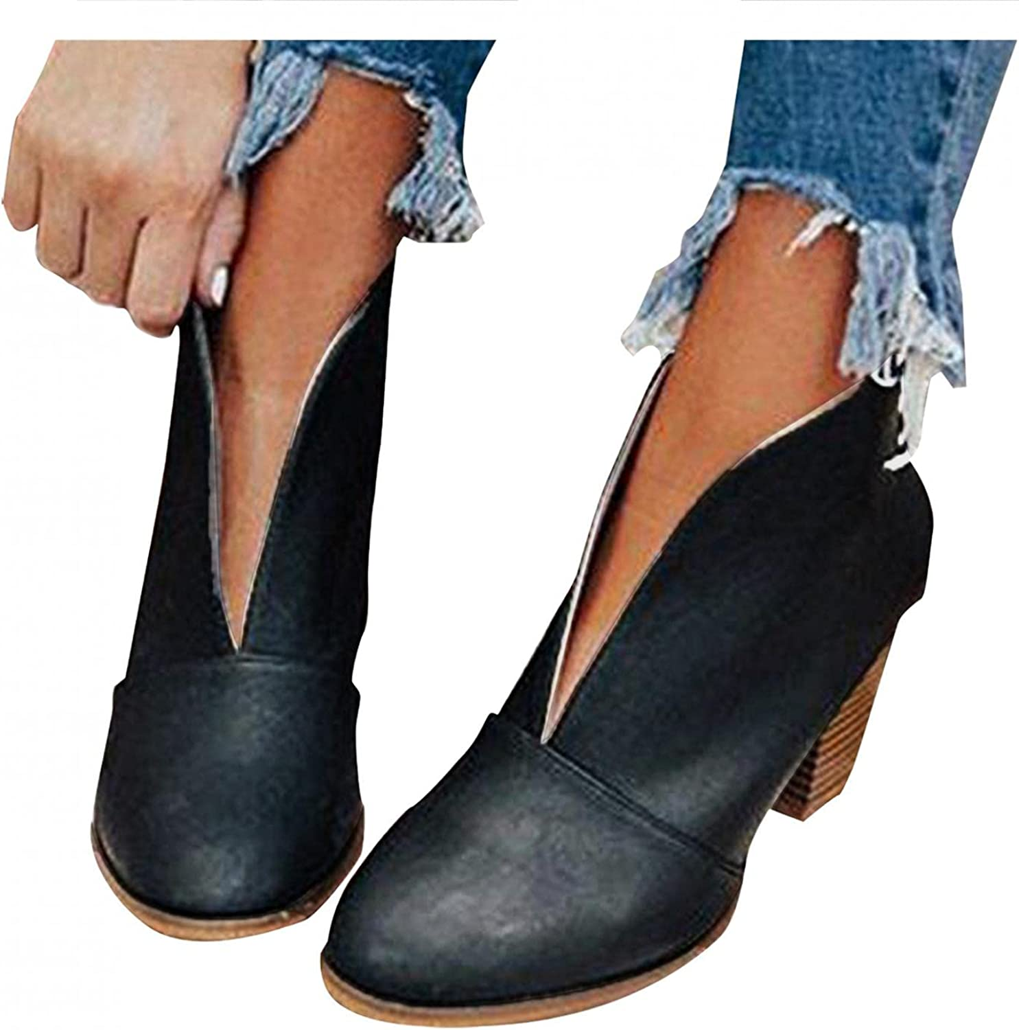 Zieglen Boots for Women Slip On Hiking 5 ☆ very Milwaukee Mall popular Out Bo Hollow Ankle