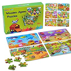 Wooden Jigsaw Puzzles Set for Kids Age 3-10-Year-Old 24 Piece Colorful Wooden Puzzles