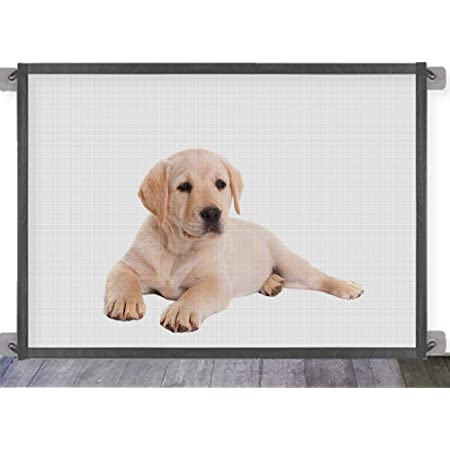 Grey Safety Fence for Hall Doorway Wide Tall Baby Gates Pet Safety Gate Safe Guard Install Anywhere Portable Folding Mesh Magic Gate Baby Safety Gates Queenii Magic Gate for Dogs